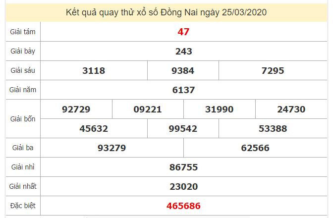 Quay thử kết quả xổ số tỉnhĐồng Nai ngày 25/3/2020