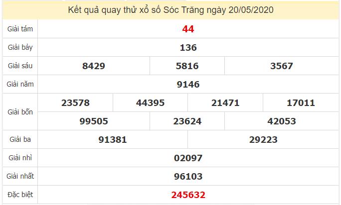 Quay thử kết quả xổ số tỉnhSóc Trăng ngày 20/5/2020
