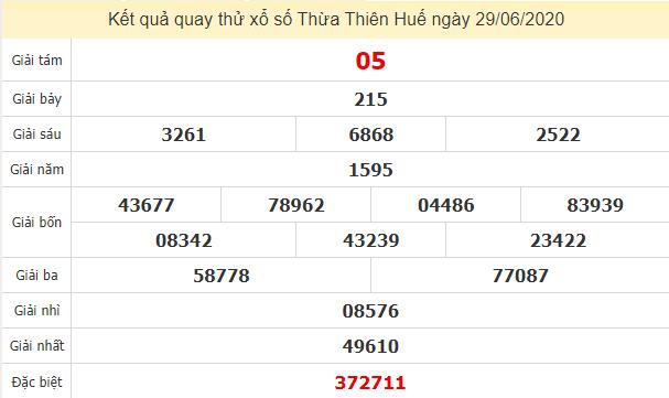 Quay thử kết quả xổ số tỉnh Thừa Thiên Huế ngày 29/6/2020