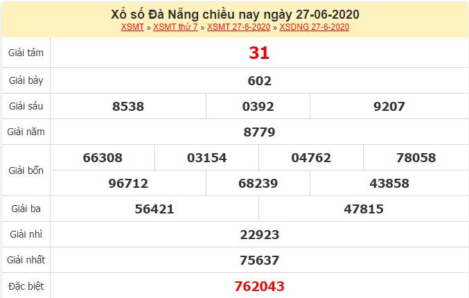 Kết quả xổ số Đà Nẵng ngày 27/6/2020