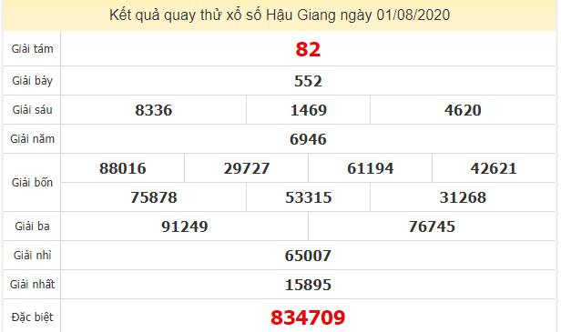 Quay thử kết quả xổ số tỉnh Hậu Giang ngày 1/8/2020