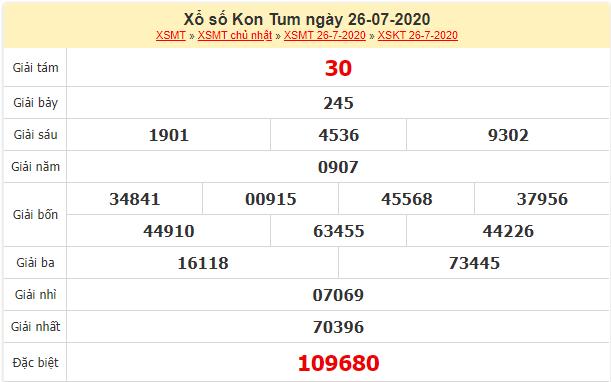 kết quả xổ số Kon Tum ngày 26/7/2020