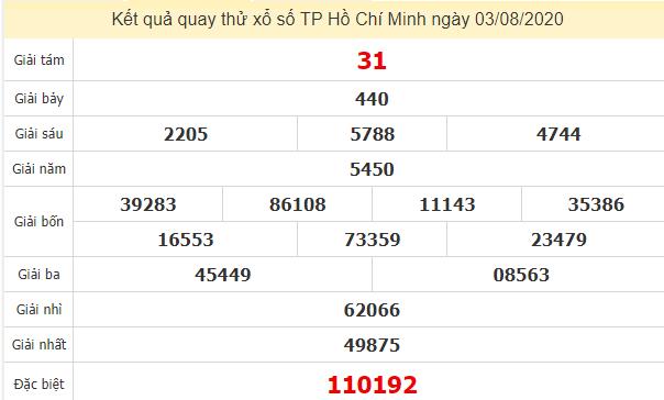 Quay thử kết quả xổ số tỉnhHồ Chí Minh ngày 3/8/2020