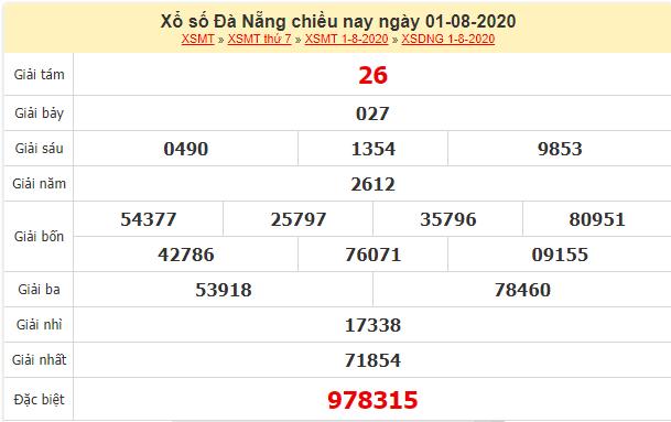 Kết quả xổ số Đà Nẵng ngày 1/8/2020