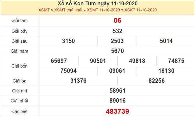 Kết quả xổ số Kon Tum 11/10/2020
