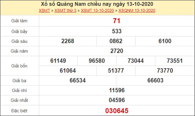 Kết quả xổ số Quảng Nam ngày 13/10/2020