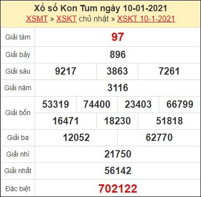Kết quả xổ số Kon Tum ngày 10/1/2021
