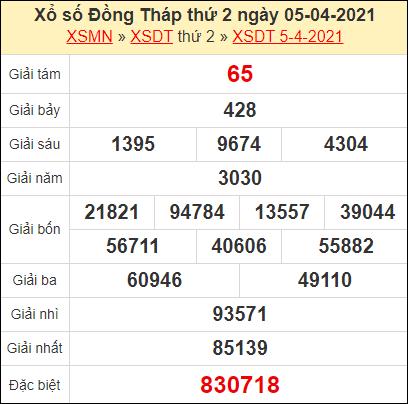 Kết quả xổ số Đồng Tháp ngày 5/4/2021