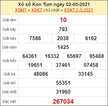 Kết quả xổ số Kon Tum ngày 2/5/2021