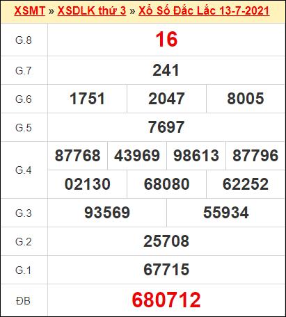 Kết quả xổ số Đắc Lắc ngày 13/7/2021
