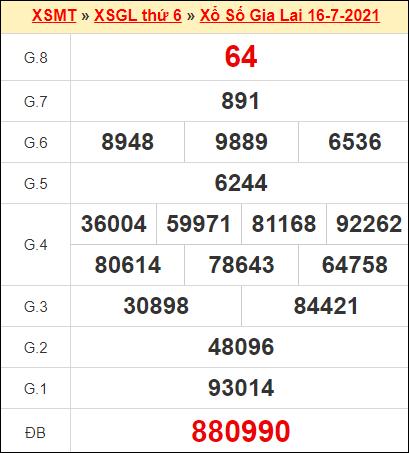 Kết quả xổ số Gia Lai ngày 16/7/2021