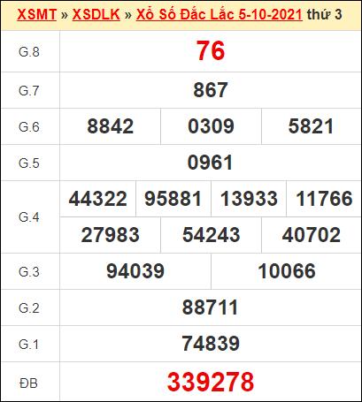 Kết quả xổ số Đắc Lắc ngày 5/10/2021